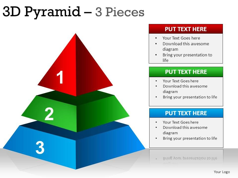 3d pyramid 3 pieces powerpoint presentation slides presentation