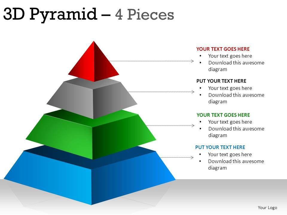 3d pyramid 4 pieces powerpoint presentation slides. Black Bedroom Furniture Sets. Home Design Ideas