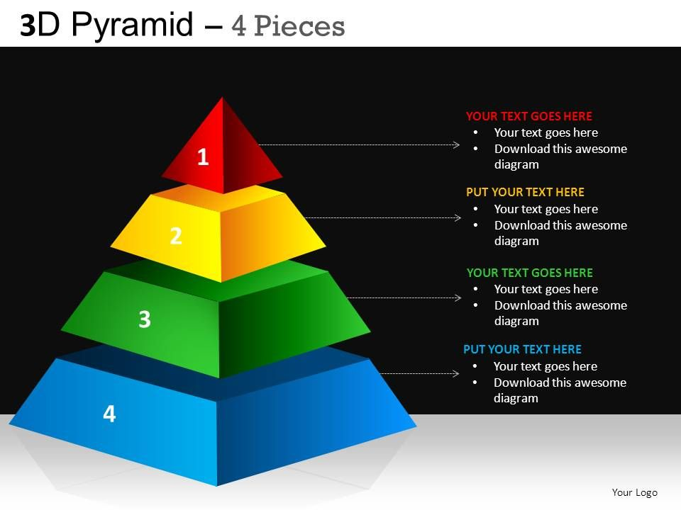 3d pyramid 4 pieces powerpoint presentation slides db. Black Bedroom Furniture Sets. Home Design Ideas