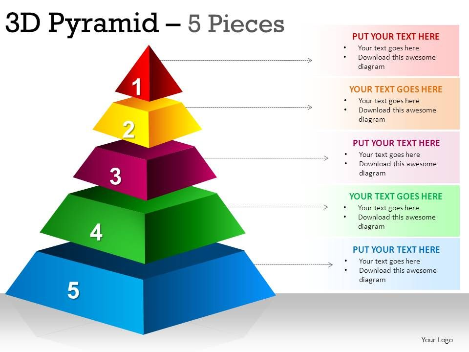 3d pyramid 5 pieces powerpoint presentation slides template