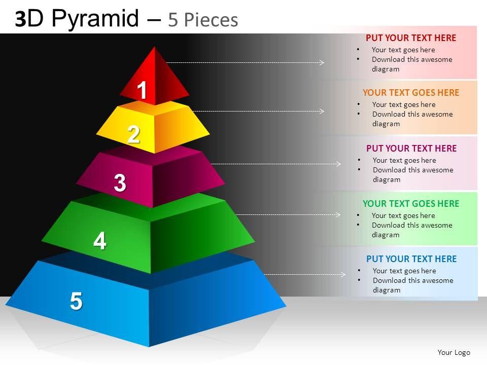 3d pyramid 5 pieces powerpoint presentation slides db, Powerpoint templates