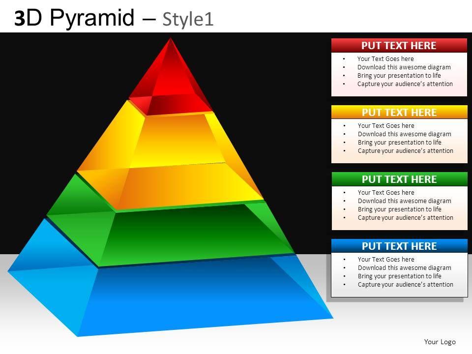 3d pyramid style1 powerpoint presentation slides db. Black Bedroom Furniture Sets. Home Design Ideas