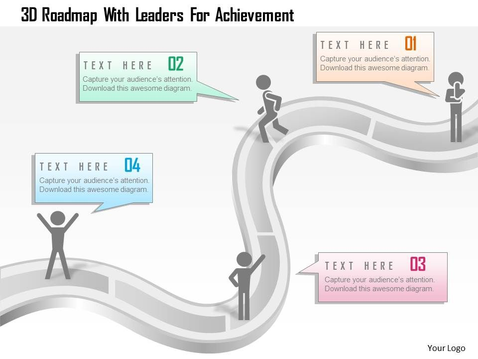 D Roadmap With Leaders For Achievement Powerpoint Template - Leadership roadmap template