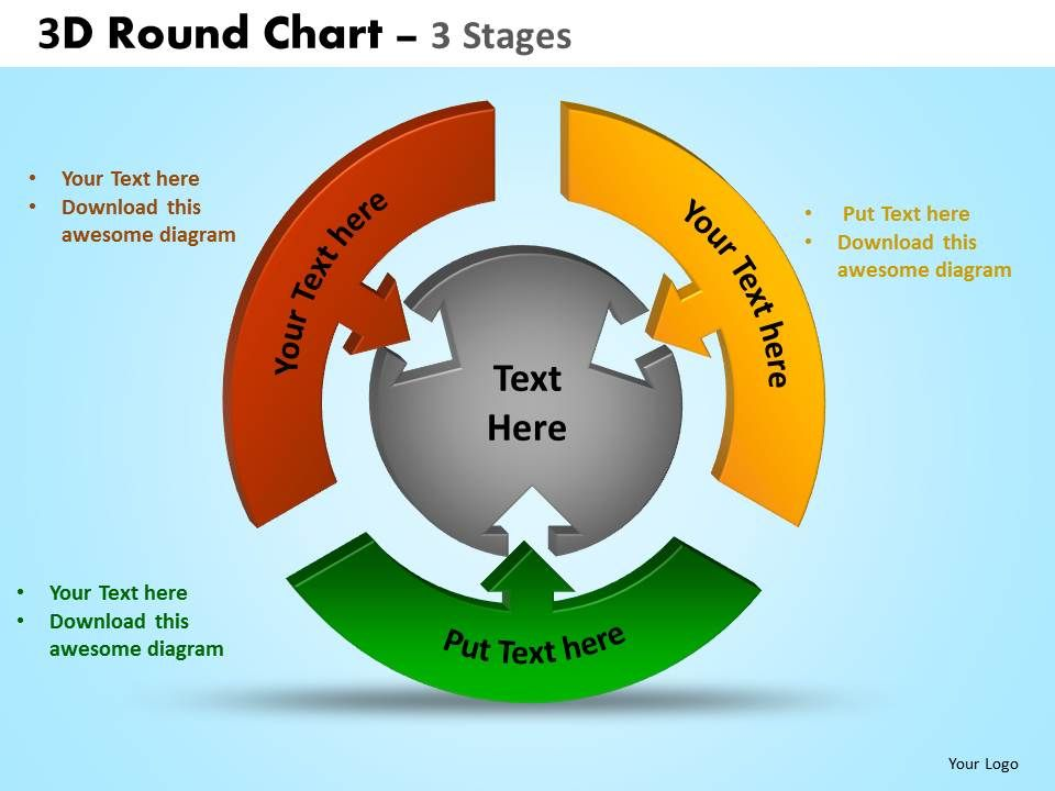 3d round chart 3 stages powerpoint slides and ppt templates 0412