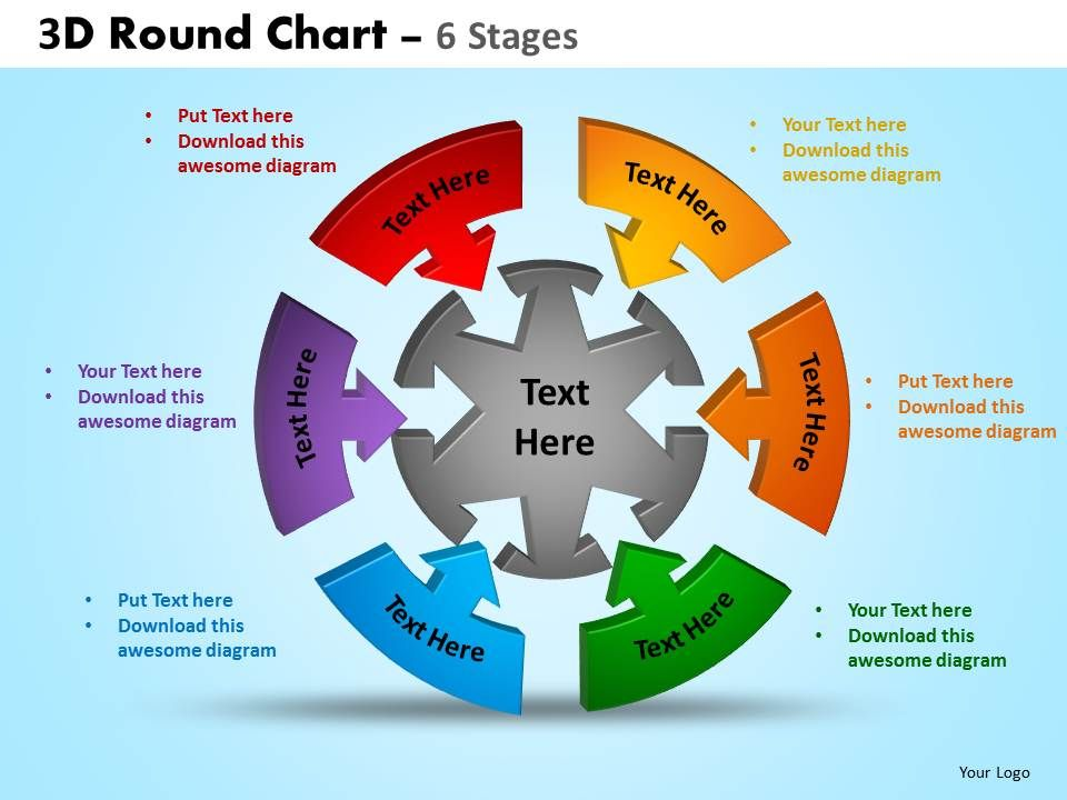 3D Ppt Templates | 3d Round Chart 6 Stages Powerpoint Slides And Ppt Templates 0412