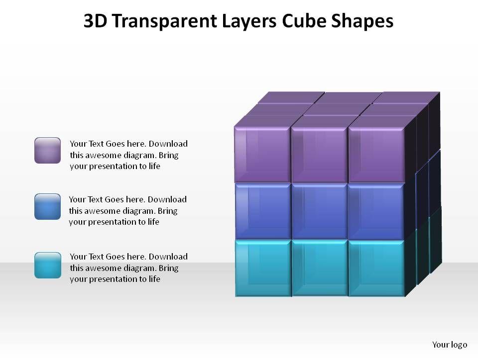 3d transparent layers rubiks cube 3x3 boxes squares shapes ppt