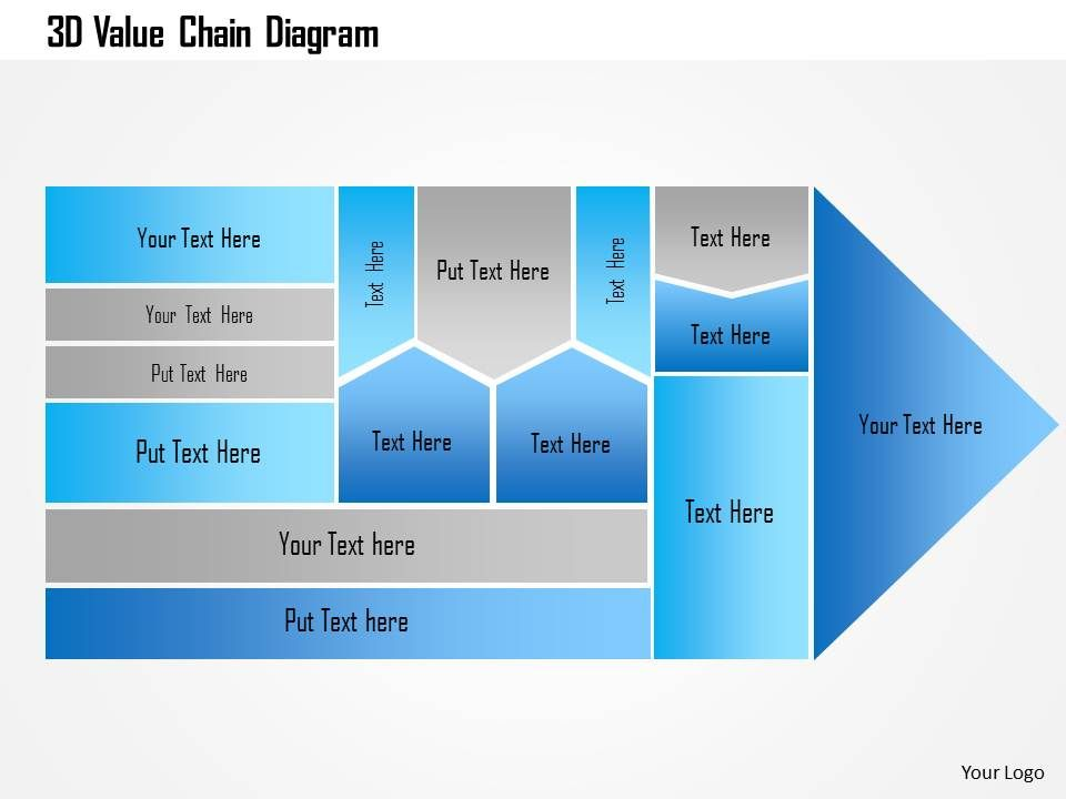 3d value chain diagram powerpoint template | presentation, Modern powerpoint