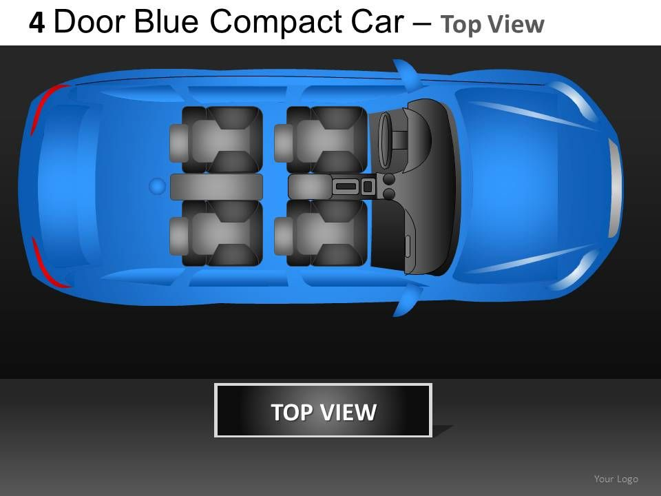 4 door blue car top view powerpoint presentation slides db, Presentation templates