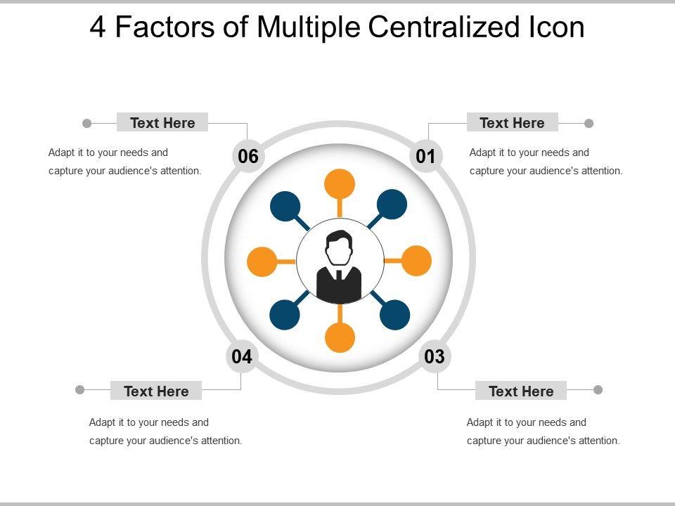 4_factors_of_multiple_centralized_icon_powerpoint_slide_ideas_Slide01