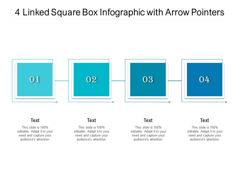 4 Linked Square Box Infographic With Arrow Pointers