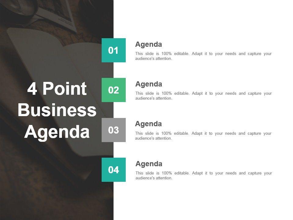 4 Point Business Agenda Slide Design Templates Slide01 Slide02