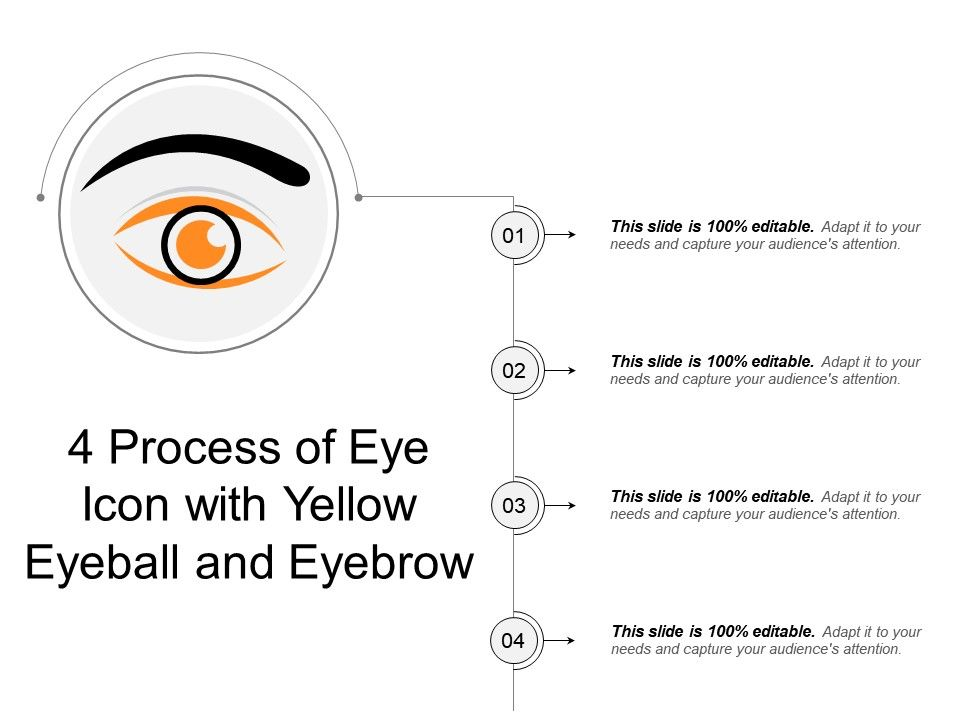 4 process of eye icon with yellow eyeball and eyebrow powerpoint