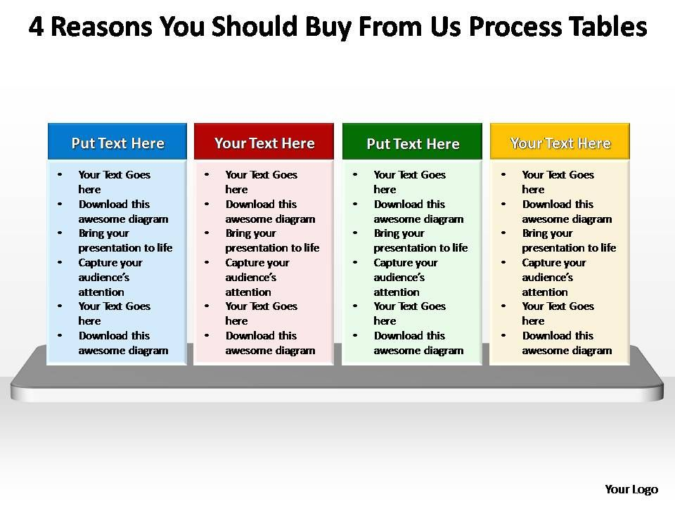 4 reasons you should buy from us process tables powerpoint templates 4reasonsyoushouldbuyfromusprocesstablespowerpointtemplatesslide01 4reasonsyoushouldbuyfromusprocesstablespowerpointtemplatesslide02 toneelgroepblik Gallery