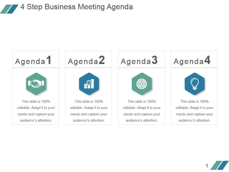 Step Business Meeting Agenda Example Ppt Presentation