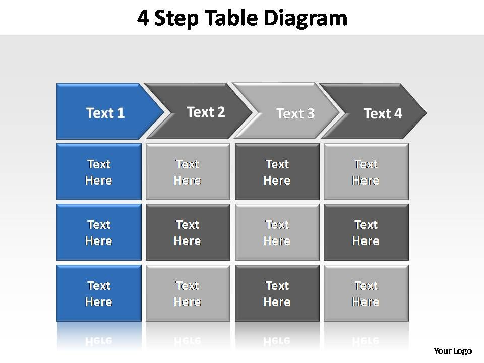 4 step table diagram editable powerpoint templates | presentation, Modern powerpoint
