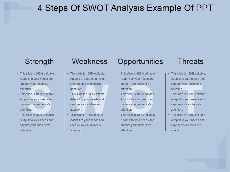 4 Steps Of Swot Analysis Example Of Ppt Powerpoint Slides Diagrams