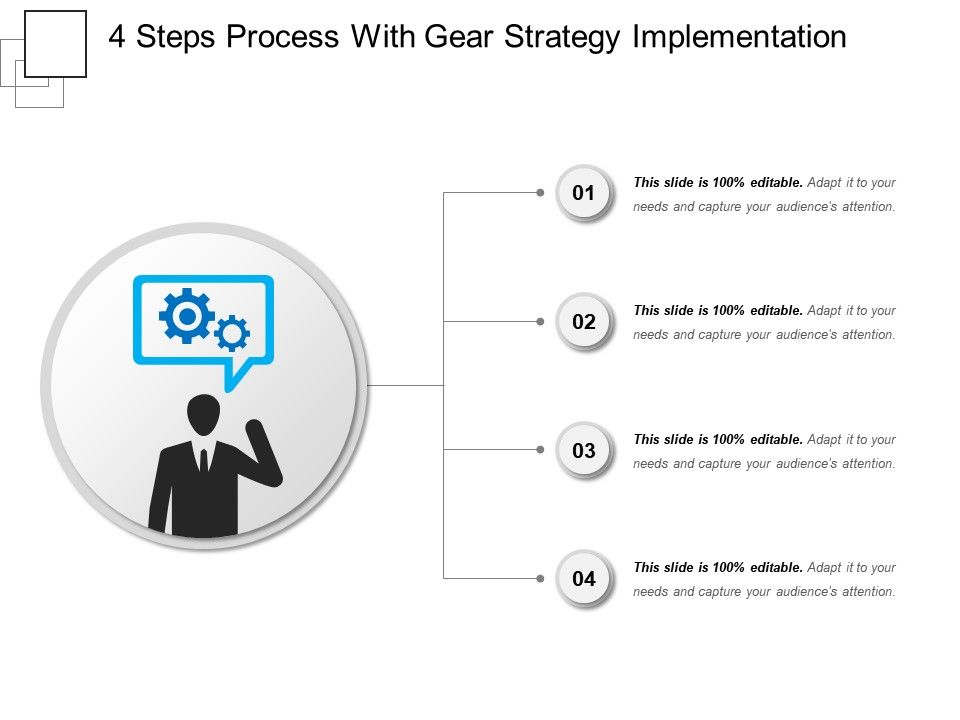 4 Steps Process With Gear Strategy Implementation | PPT