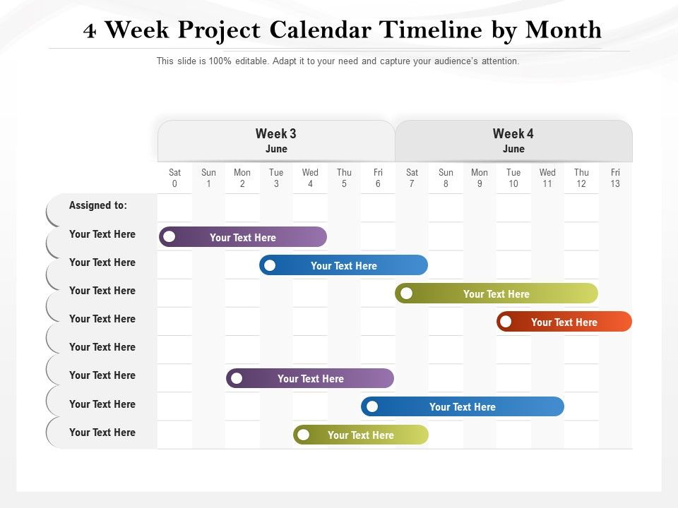 4 Week Project Calendar Timeline By Month