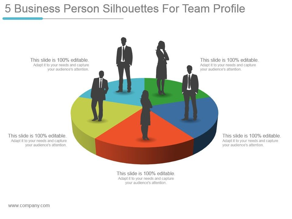 5 Business Person Silhouettes For Team Profile Sample Ppt