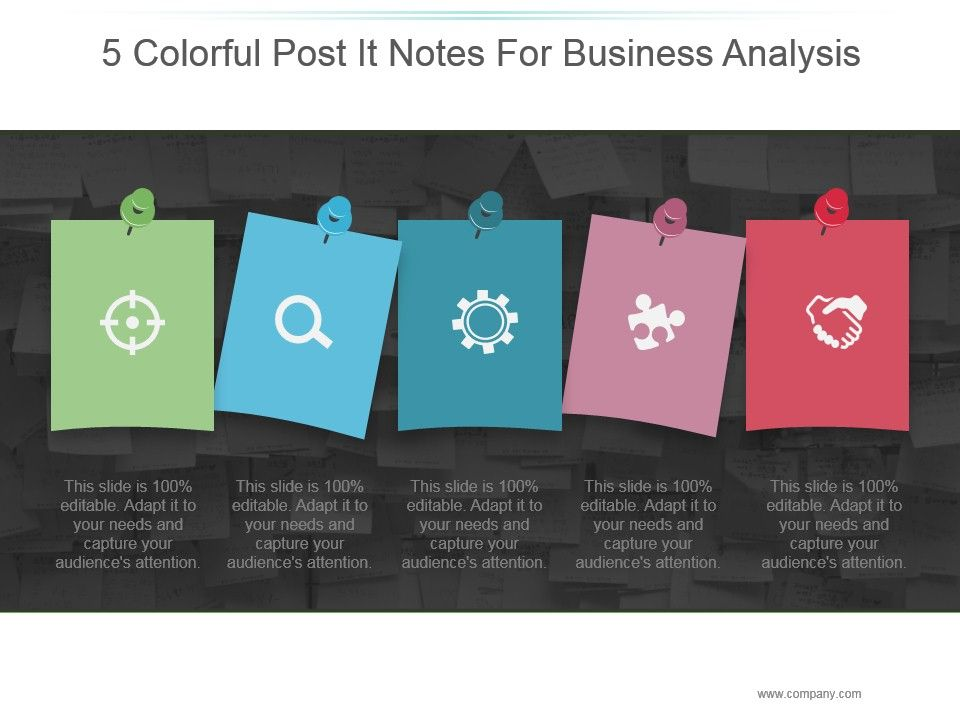 5 Colorful Post It Notes For Business Analysis Powerpoint