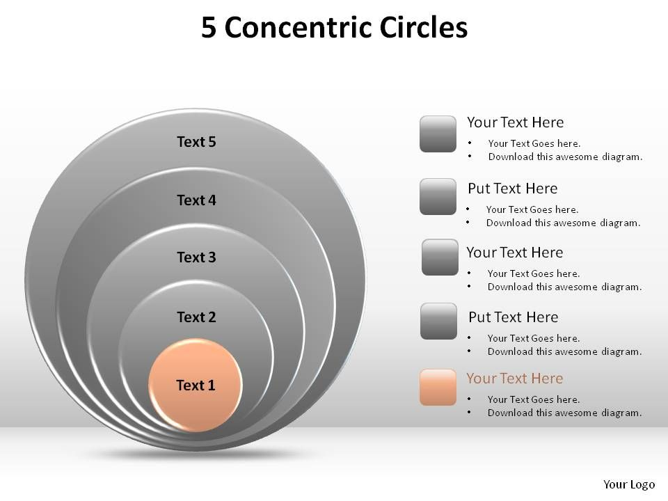 5 Concentric Circles Slides Diagrams Templates Powerpoint Info