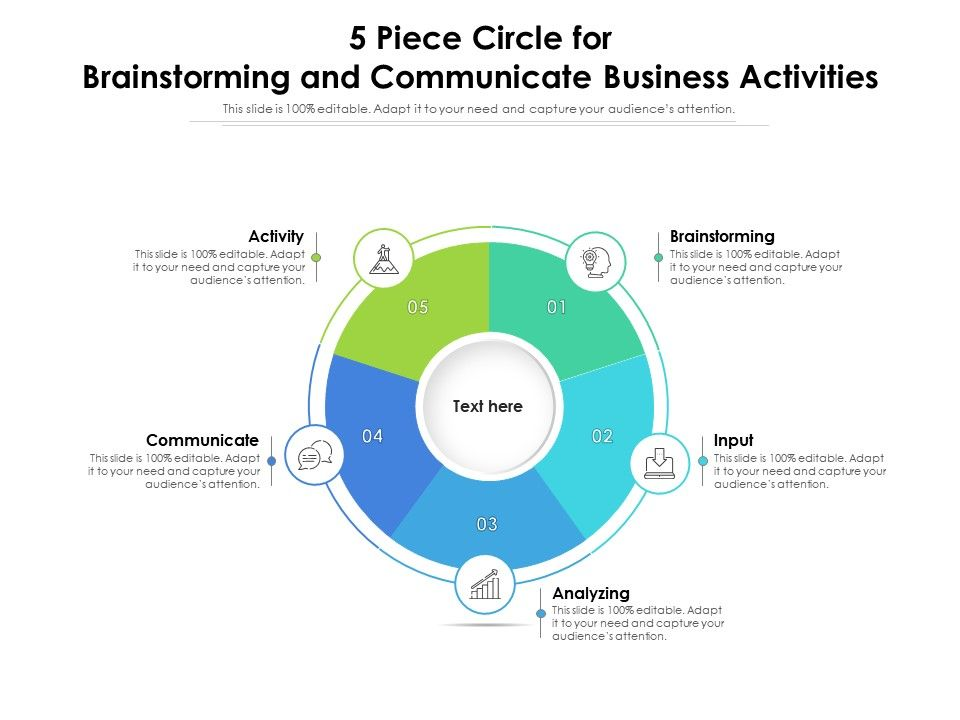 5 Piece Circle For Brainstorming And Communicate Business Activities