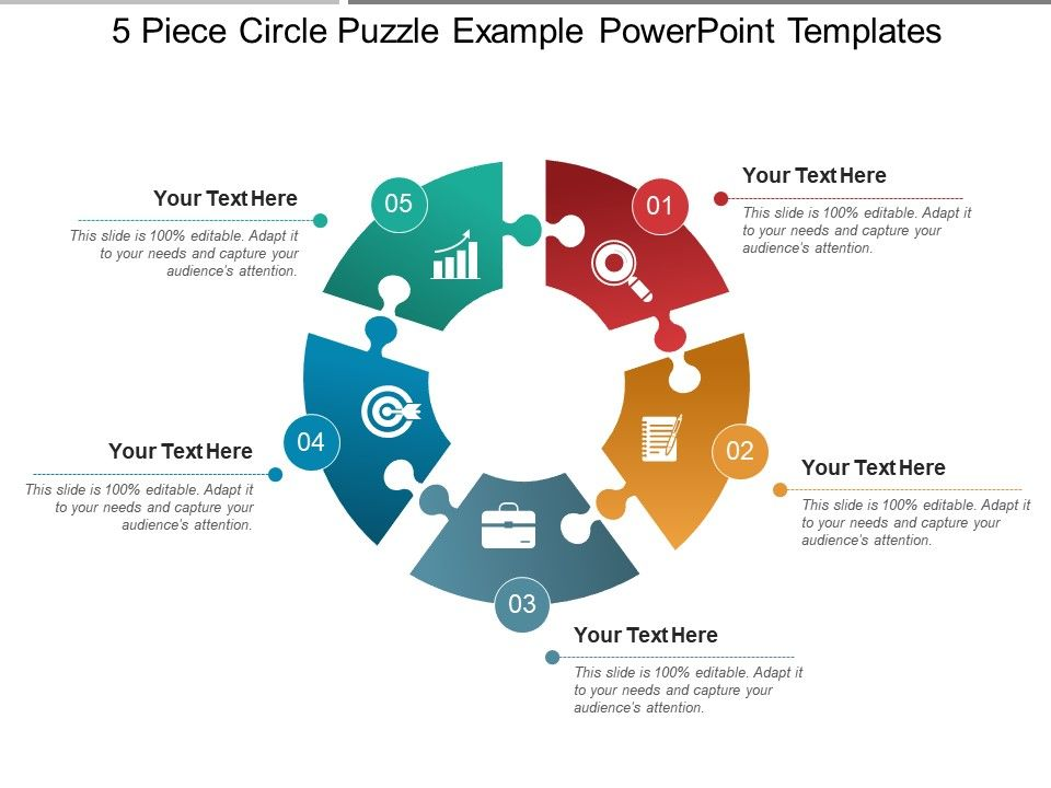 5 piece circle puzzle example powerpoint templates powerpoint