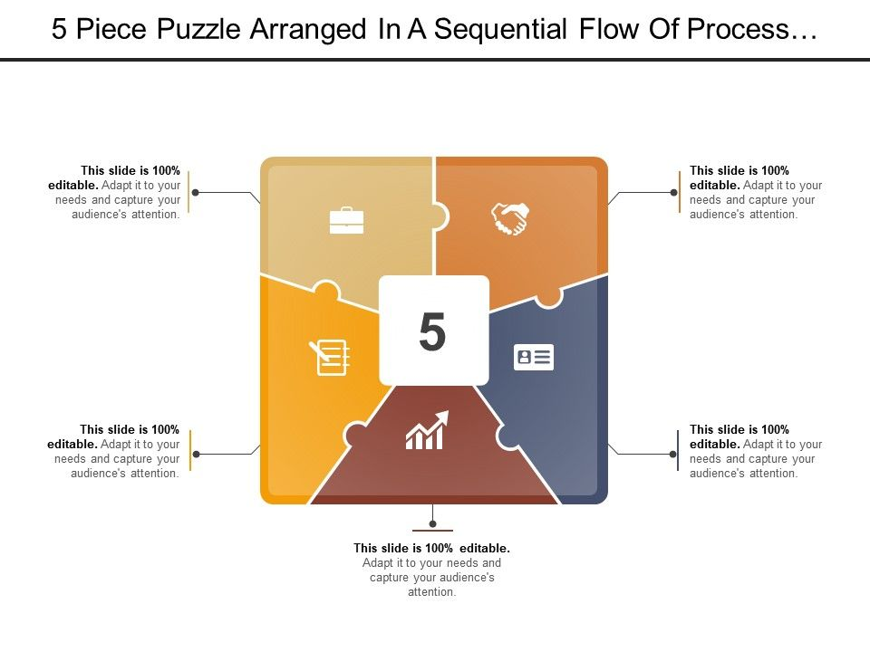 5 Piece Puzzle Arranged In A Sequential Flow Of Process With Icon ...