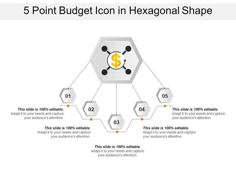 5 Point Budget Icon In Hexagonal Shape Slide01 Slide02 Slide03