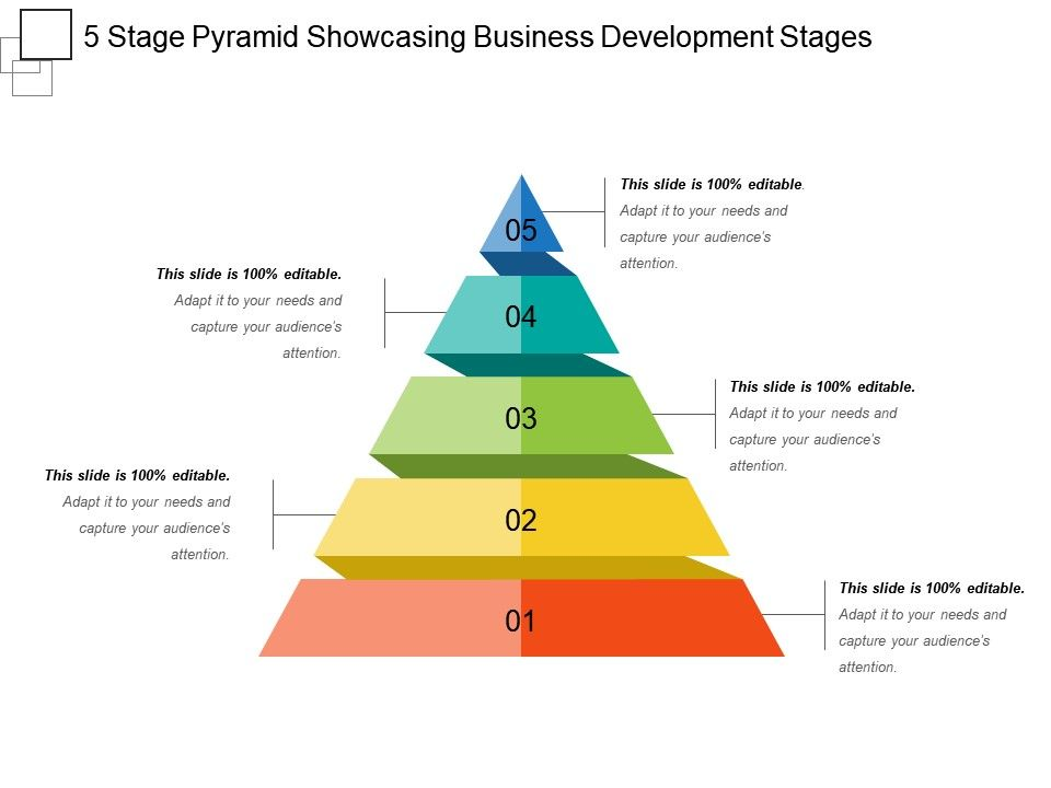 5_stage_pyramid_showcasing_business_development_stages_ppt_design_Slide01