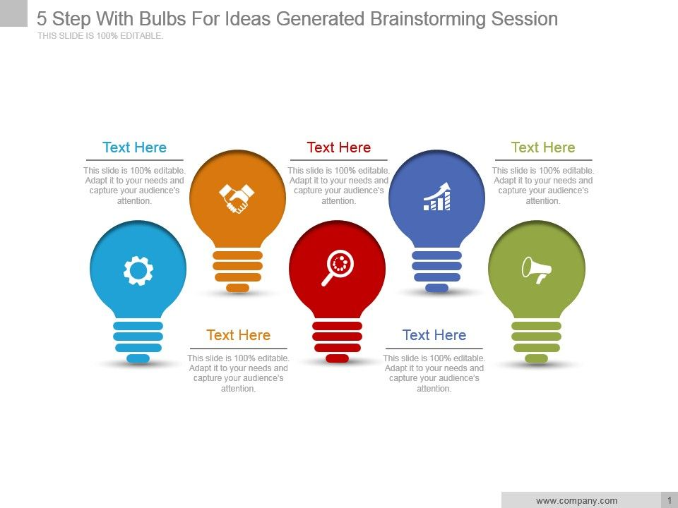 5 step with bulbs for ideas generated brainstorming session ppt