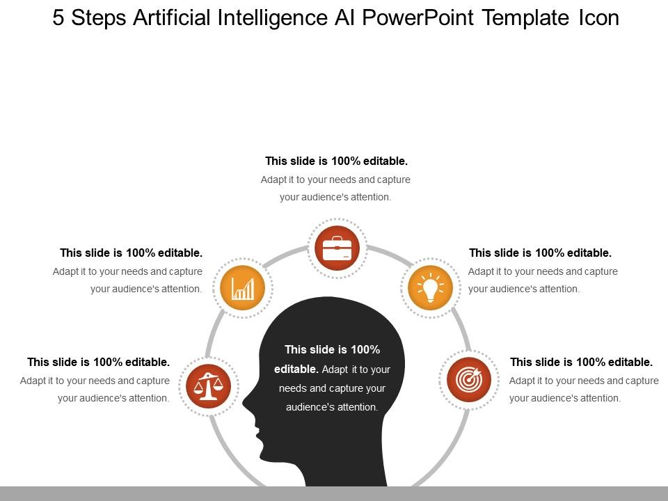 5 Steps Artificial Intelligence Ai Powerpoint Template Icon