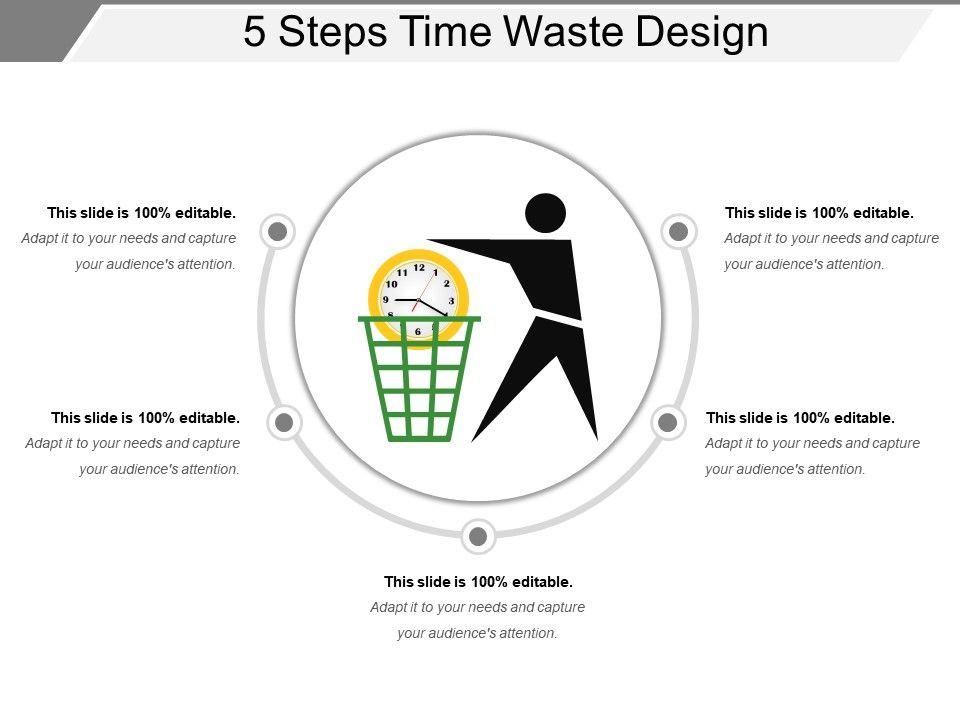 5 Steps Time Waste Design Presentation Outline Templates