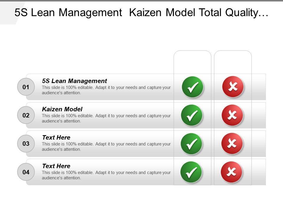5s Lean Management Kaizen Model Total Quality Management Technique
