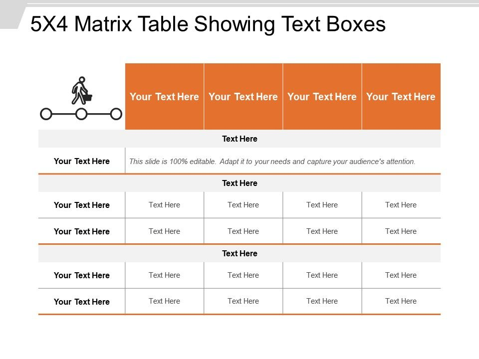 5x4 Matrix Table Showing Text Boxes Powerpoint Presentation Images