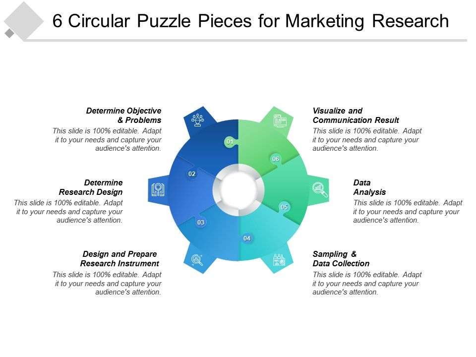 6 Circular Puzzle Pieces For Marketing Research