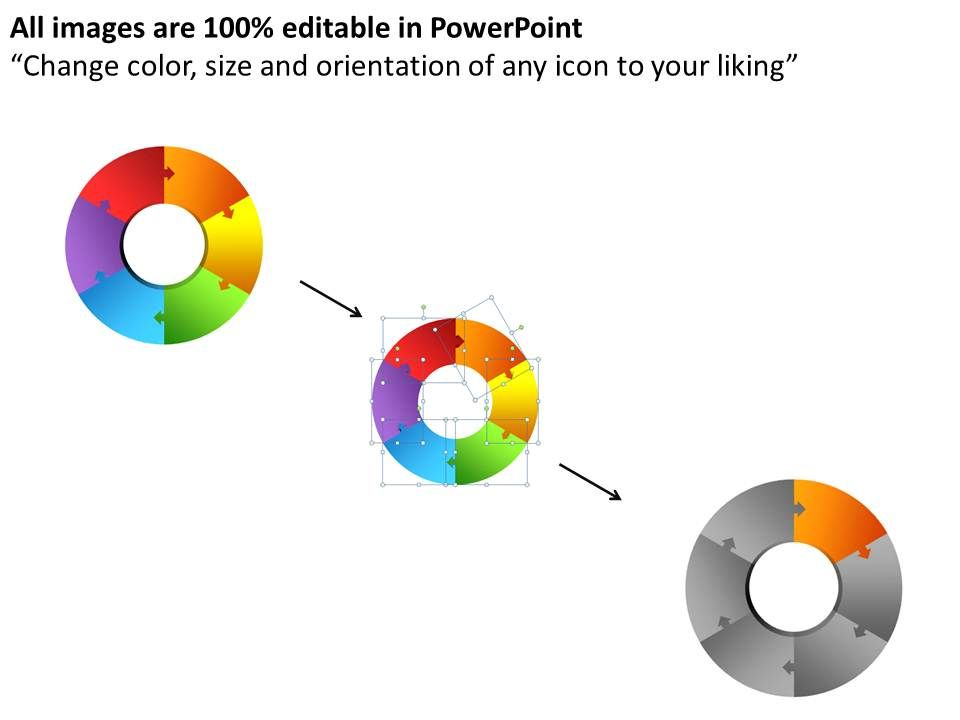 6 circular puzzle pieces pie chart powerpoint slides and ppt