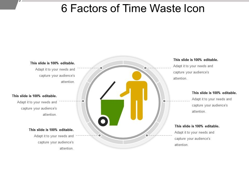 6 factors of time waste icon sample ppt files