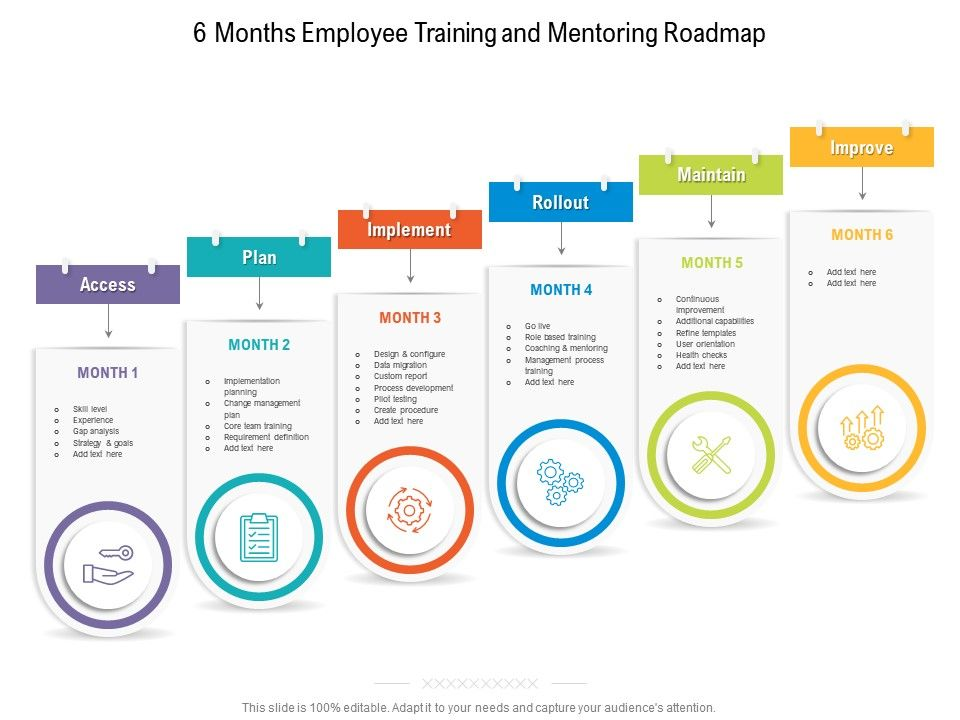 6 Months Employee Training And Mentoring Roadmap