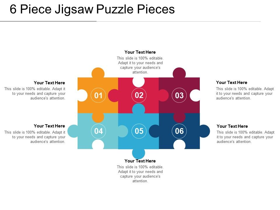 6 piece jigsaw puzzle pieces presentation powerpoint. Black Bedroom Furniture Sets. Home Design Ideas