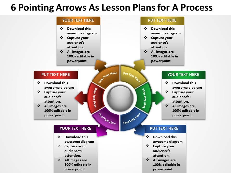 6 Pointing Arrows As Lesson Plans For A Process Powerpoint Templates