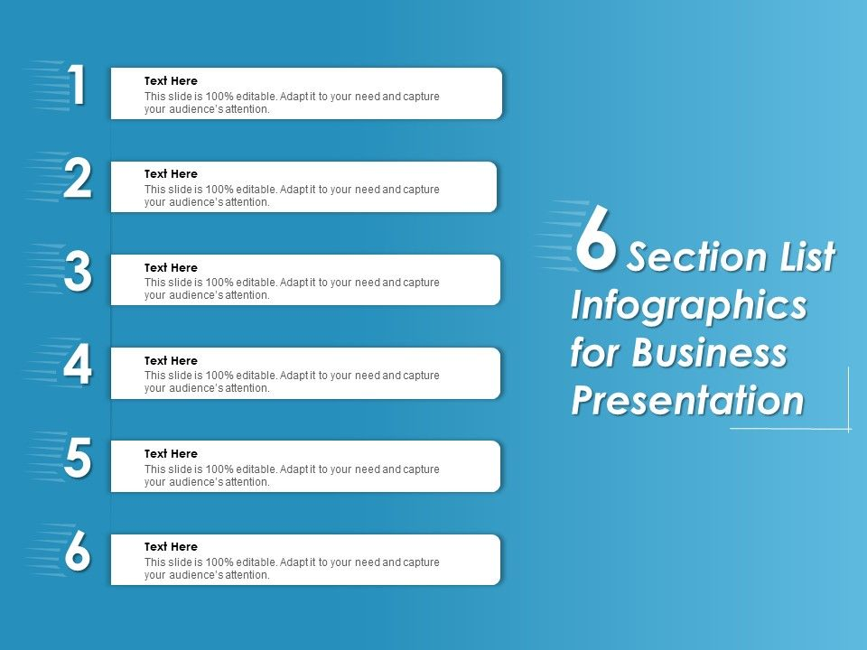 6 Section List Infographics For Business Presentation