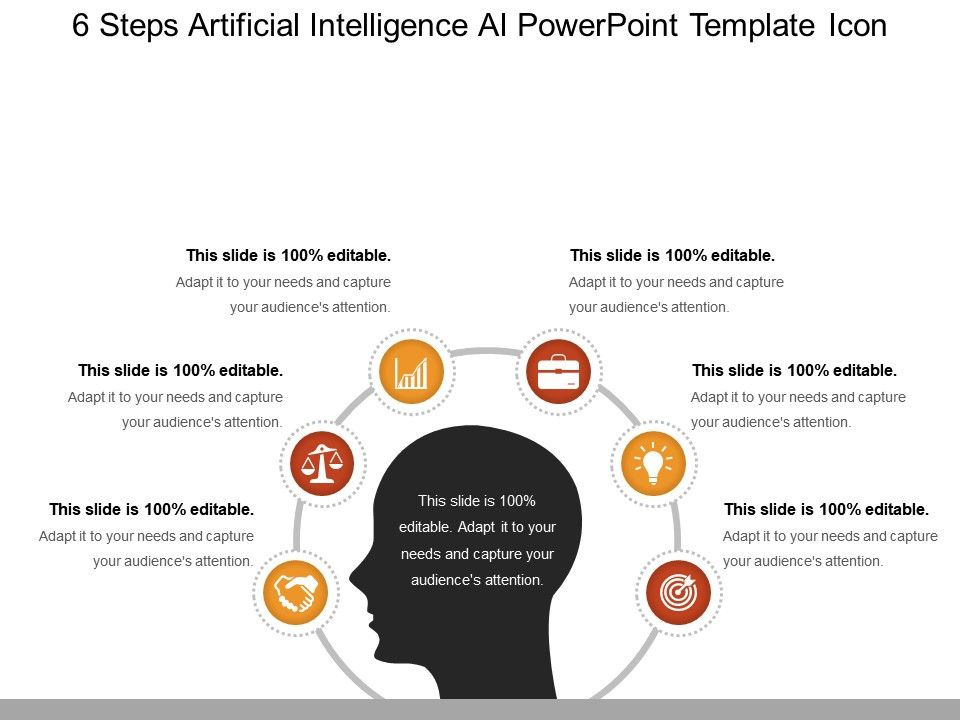 6 Steps Artificial Intelligence Ai Powerpoint Template Icon