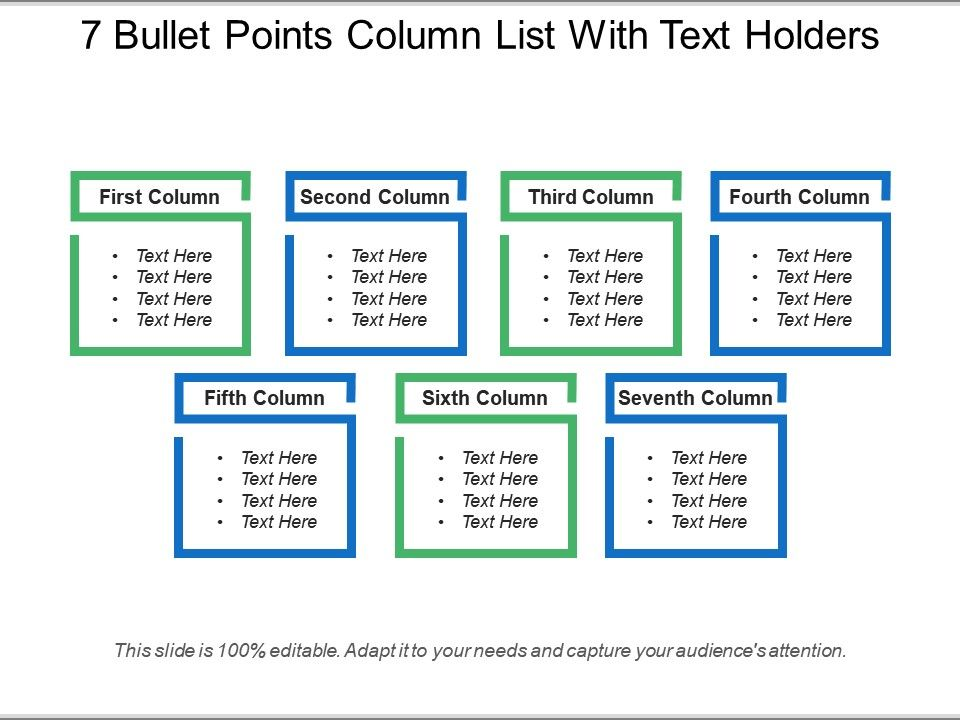 7_bullet_points_column_list_with_text_holders_Slide01