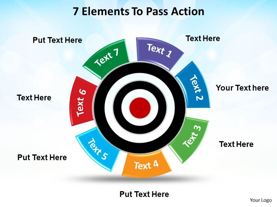 0714 business ppt diagram 7 staged bulls eye diagram powerpoint 7 elements to pass action with bullseye maxwellsz