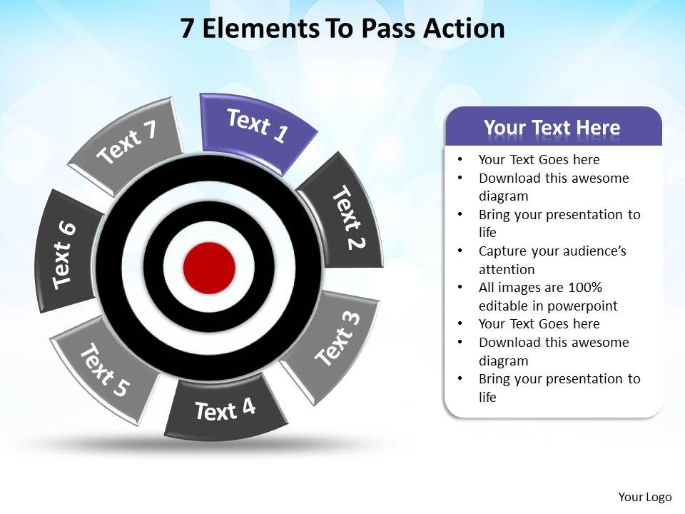 bullseye chart template - 7 elements to pass action with bullseye in center