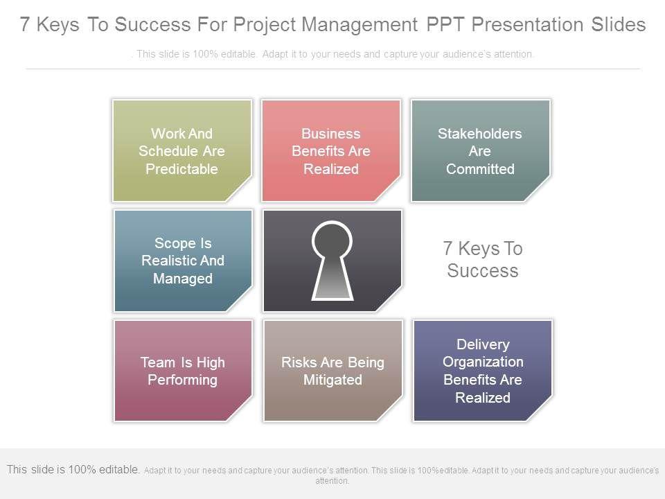 7 Keys To Success For Project Management Ppt Presentation Slides Slide01 Slide02