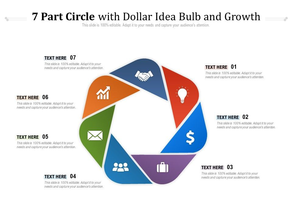 7 Part Circle With Dollar Idea Bulb And Growth