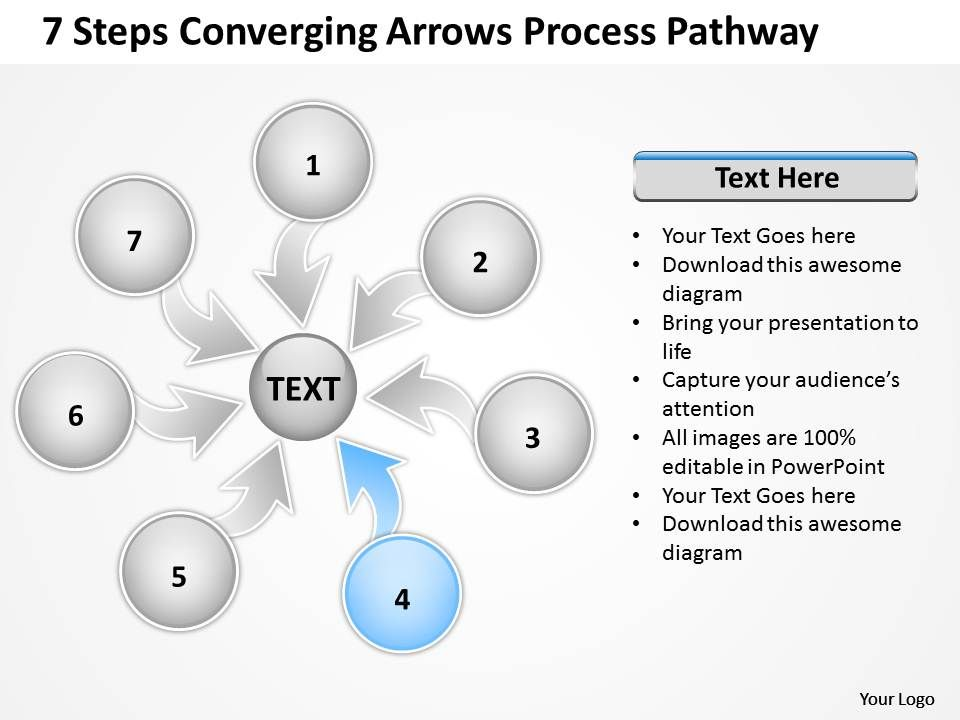 7_steps_coverging_arrows_process_pathway_circular_flow_chart_powerpoint_slides_Slide06