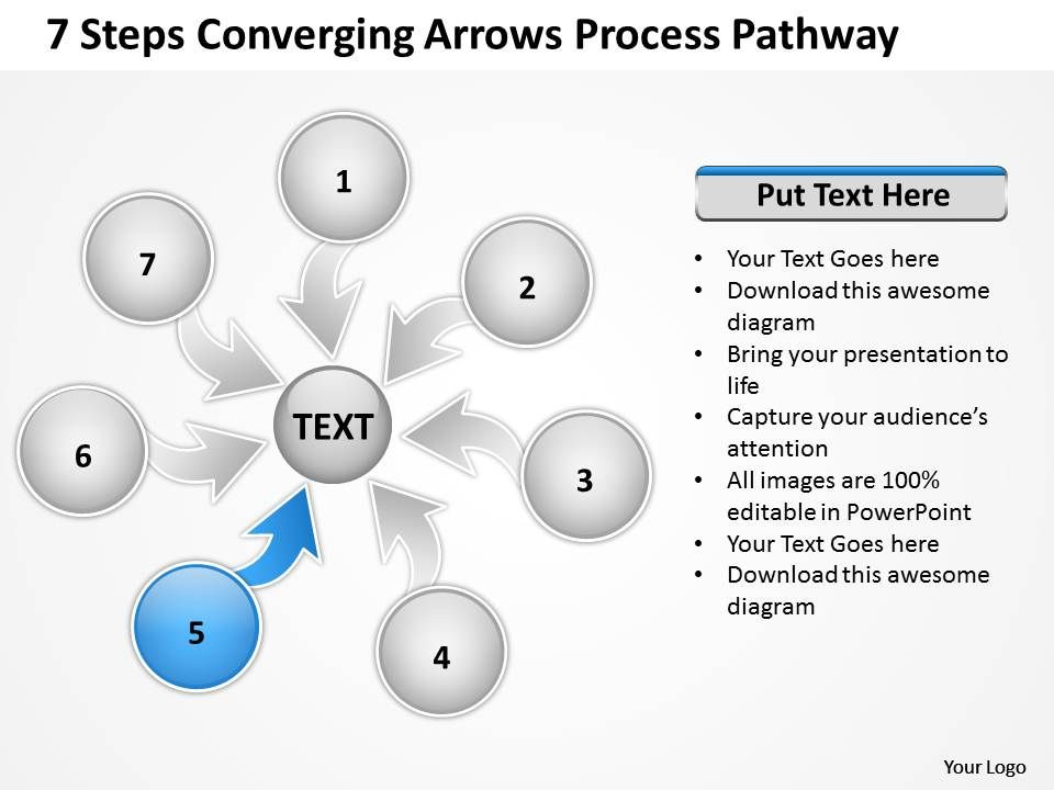 7_steps_coverging_arrows_process_pathway_circular_flow_chart_powerpoint_slides_Slide07